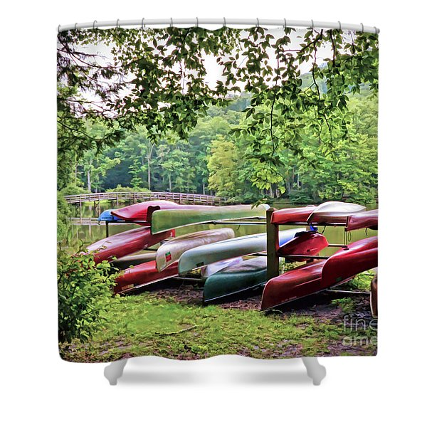 Colorful Canoes At Hungry Mother State Park Shower Curtain