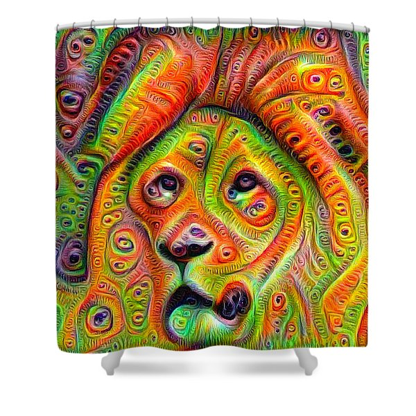 Colorful Crazy Lion Deep Dream Shower Curtain