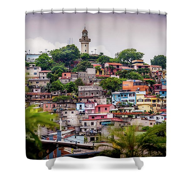 Colorful Houses On The Hill Shower Curtain