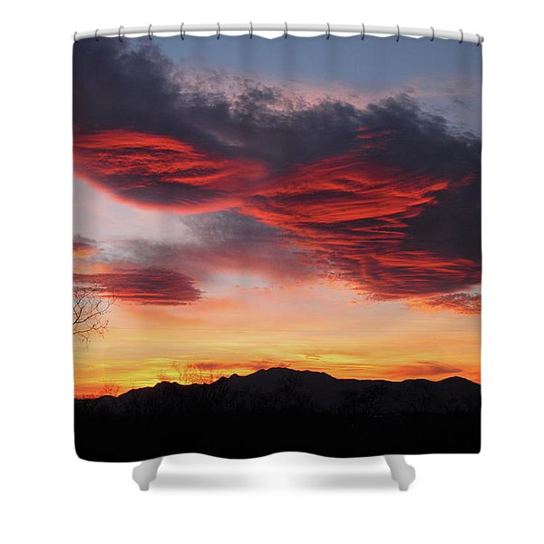 Colorful Dawn Over New Mexico's Peloncillo Mountains Shower Curtain