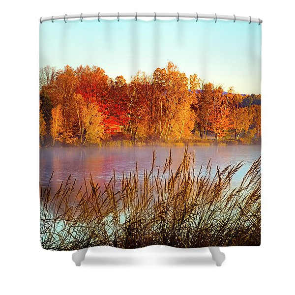 Colorful Dawn On Haley Pond Shower Curtain