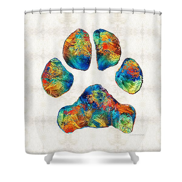 Colorful Dog Paw Print By Sharon Cummings Shower Curtain
