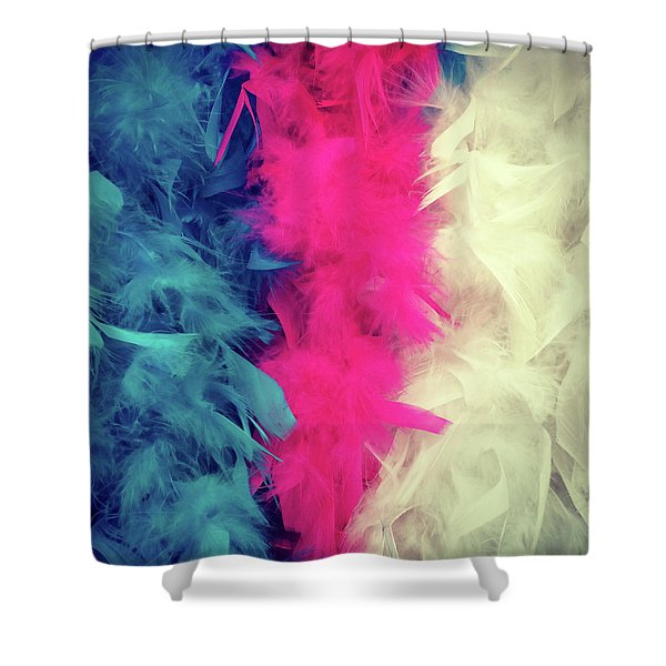 Colorful Feather Boa Shower Curtain