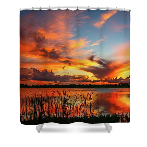 Shower Curtain featuring the photograph Colorful Fort Pierce Sunset by Tom Claud
