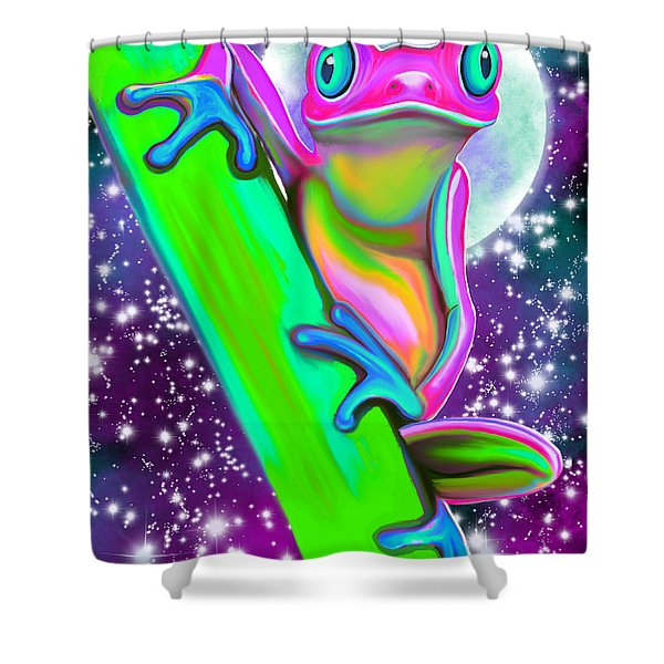 Colorful Frog In The Moonlight Shower Curtain
