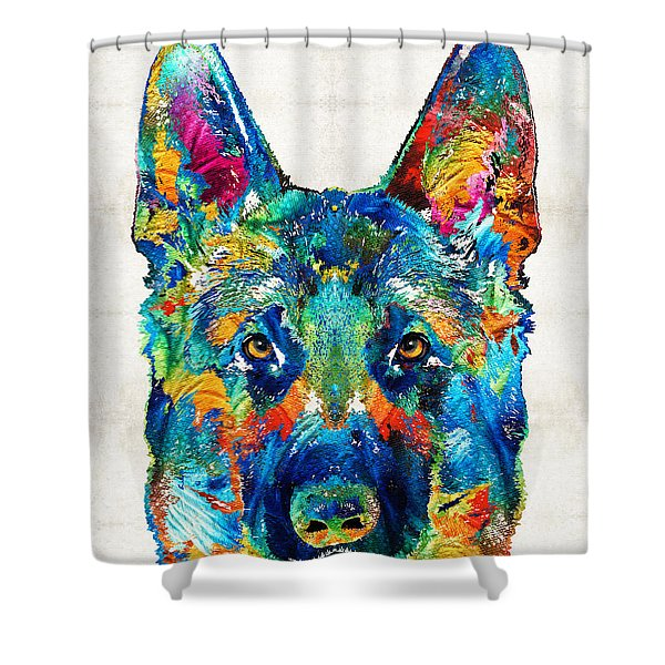 Colorful German Shepherd Dog Art By Sharon Cummings Shower Curtain