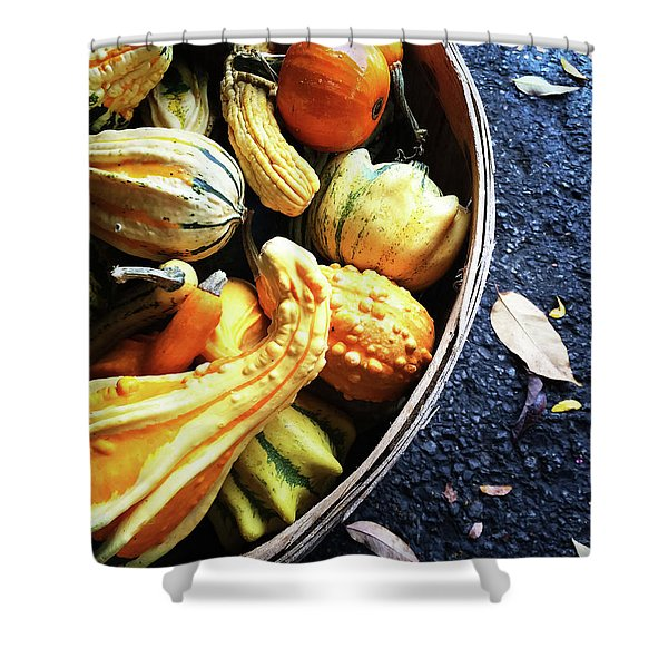 Colorful Gourds In A Basket Shower Curtain