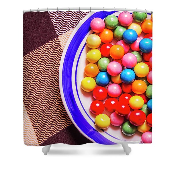 Colorful Gumballs On Plate Shower Curtain