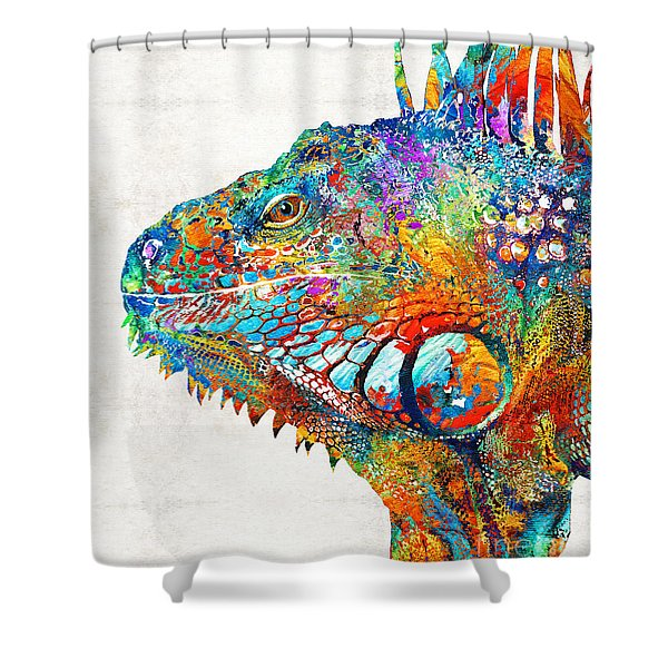 Colorful Iguana Art - One Cool Dude - Sharon Cummings Shower Curtain