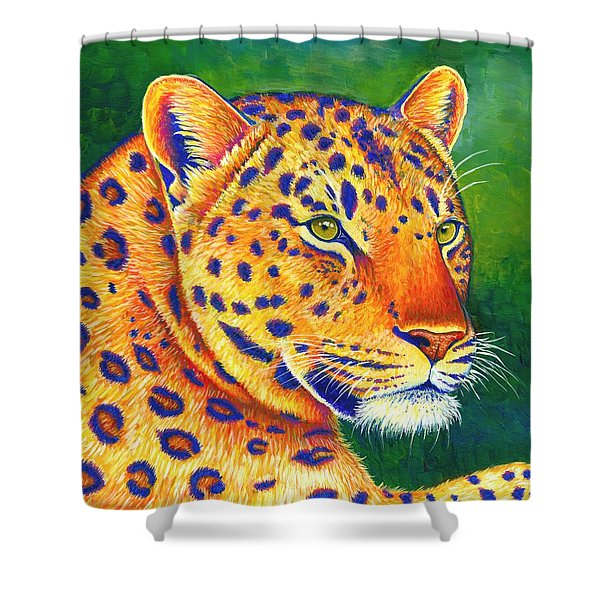 Colorful Leopard Portrait Shower Curtain