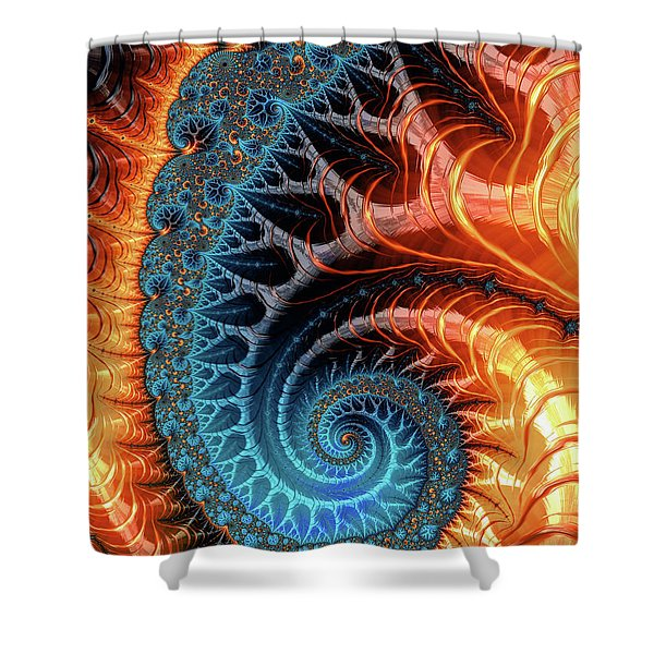 Colorful Luxe Fractal Spiral Turquoise Brown Orange Shower Curtain