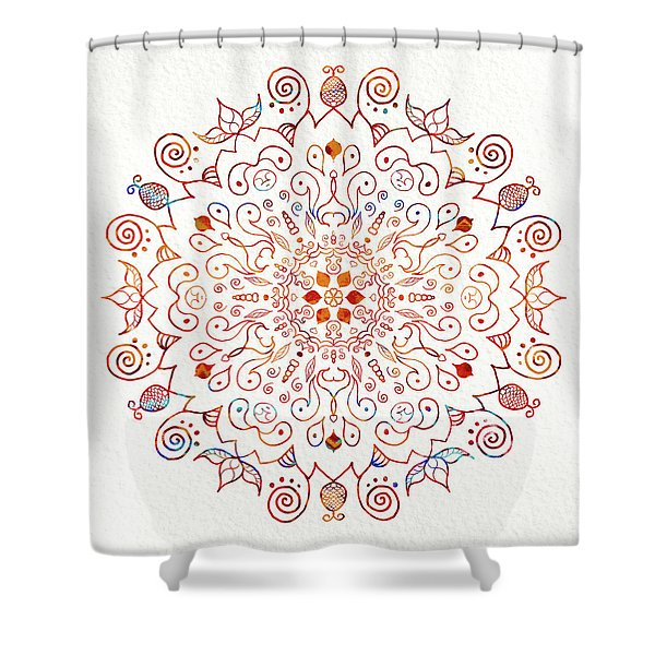 Colorful Mandala On Watercolor Paper Shower Curtain