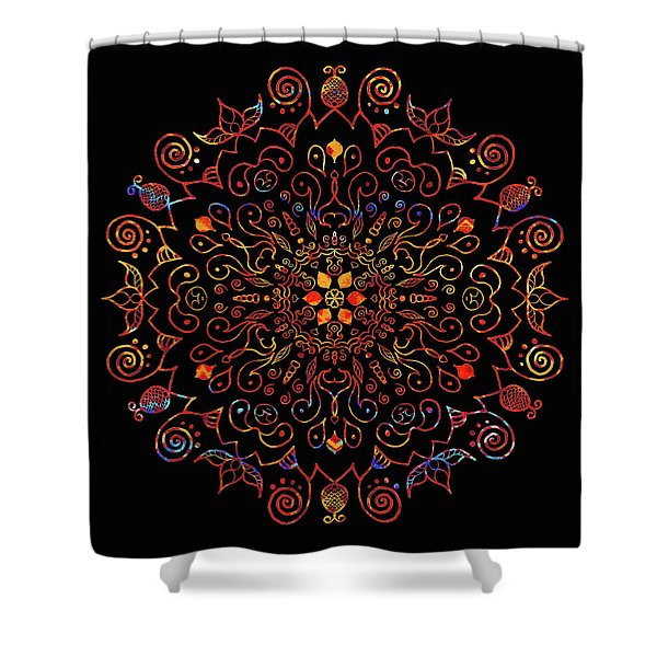 Colorful Mandala With Black Shower Curtain