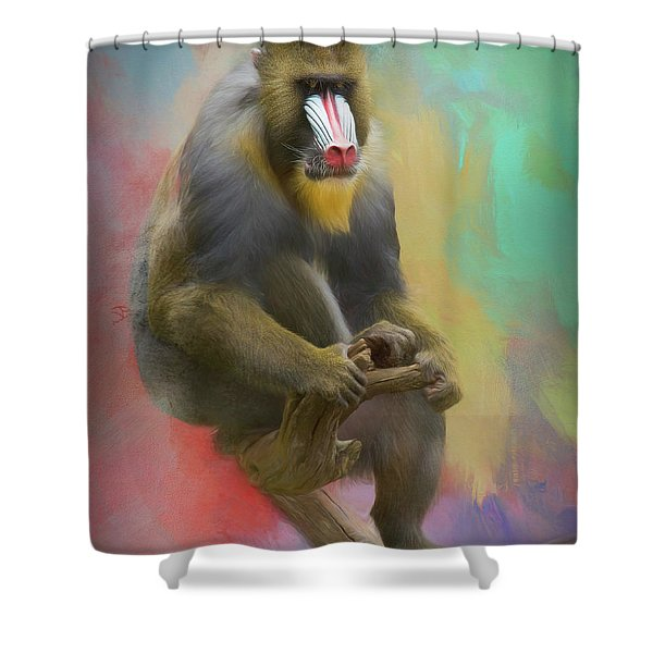 Colorful Mandrill Shower Curtain