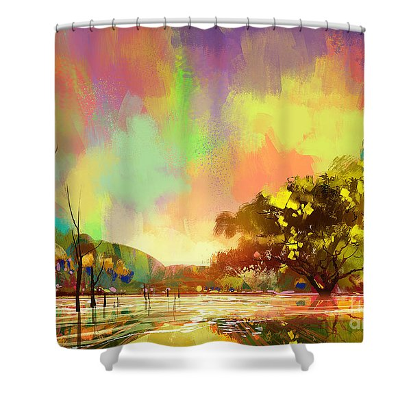 Shower Curtain featuring the painting Colorful Natural by Tithi Luadthong