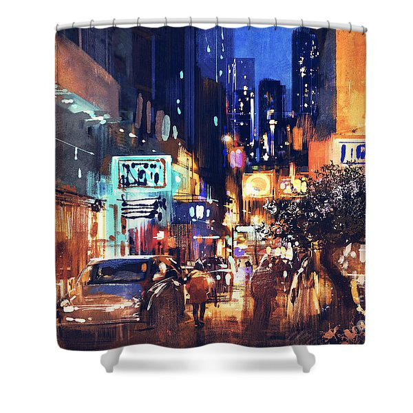 Shower Curtain featuring the painting Colorful Night Street by Tithi Luadthong