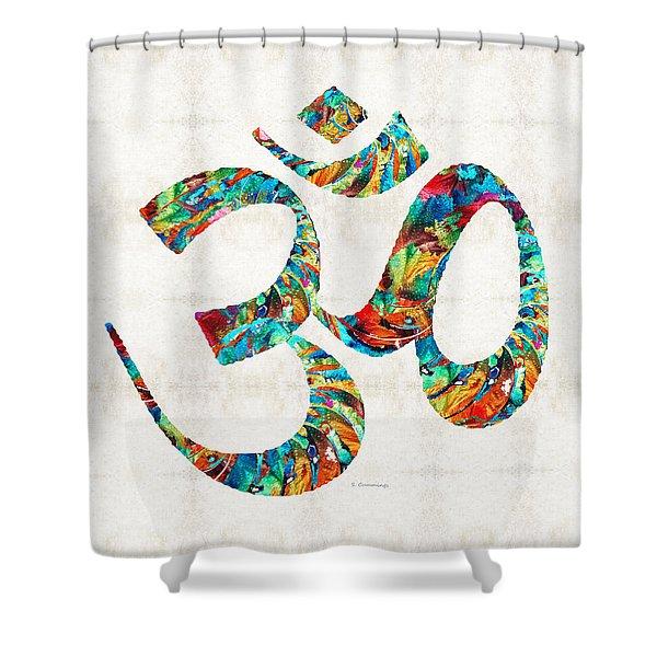 Colorful Om Symbol - Sharon Cummings Shower Curtain