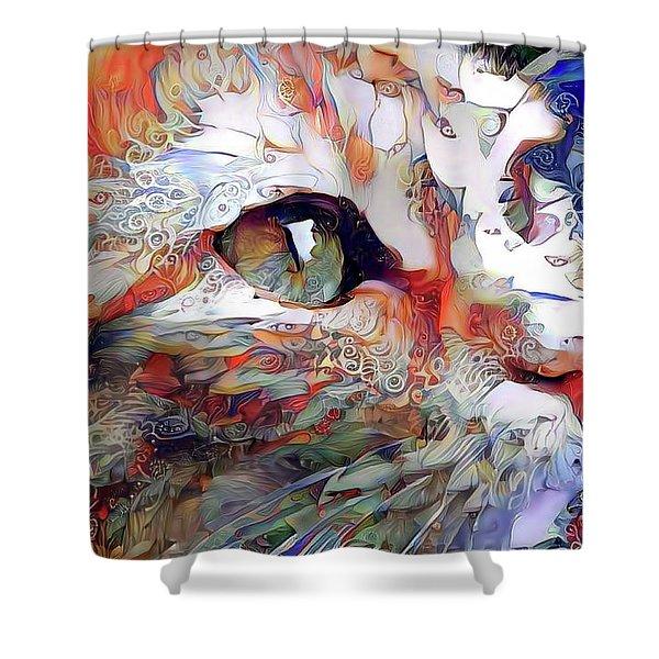 Colorful Orange Cat Art Shower Curtain