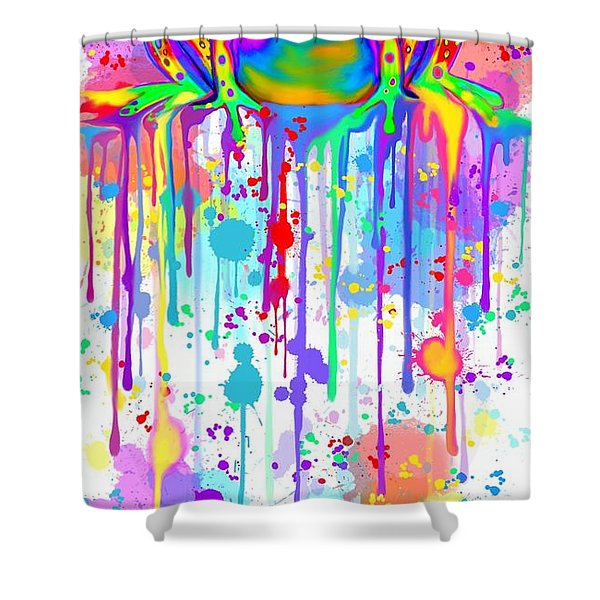 Colorful Painted Frog  Shower Curtain