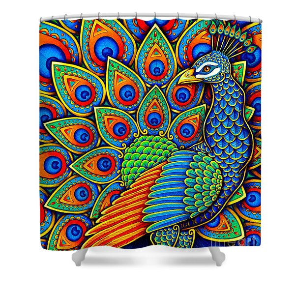 Colorful Paisley Peacock Shower Curtain