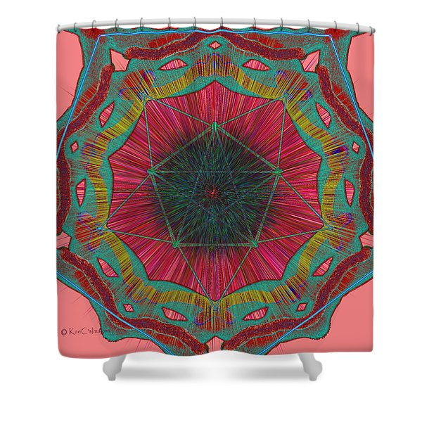 Colorful Pentagonal Abstract Shower Curtain