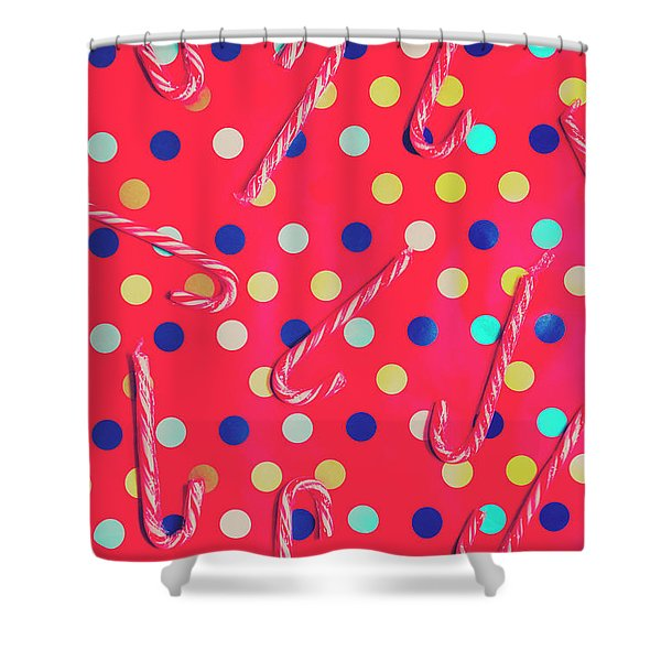 Colorful Pepermint Candy Canes Shower Curtain
