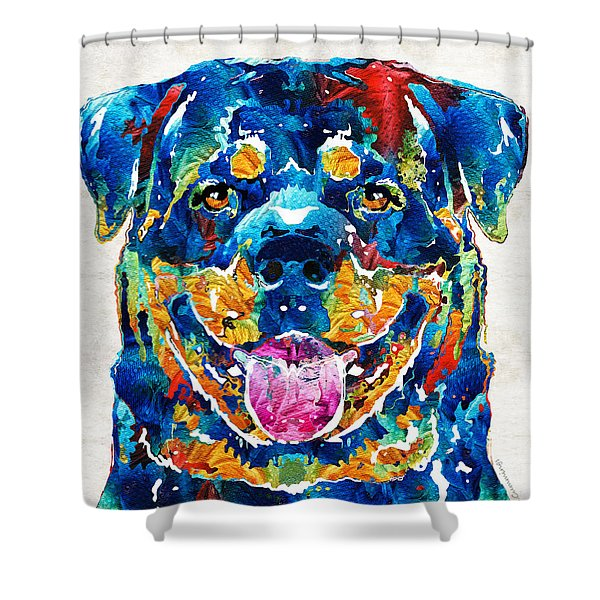 Colorful Rottie Art - Rottweiler By Sharon Cummings Shower Curtain