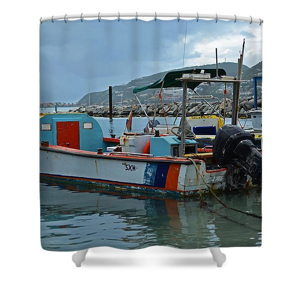 Colorful Saint Martin Power Boat Caribbean Shower Curtain