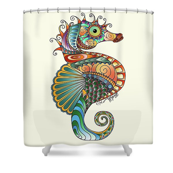 Colorful Seahorse Shower Curtain