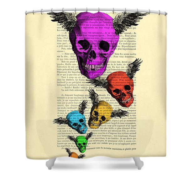Colorful Rainbow Skull With Wings Illustration On Book Page Shower Curtain