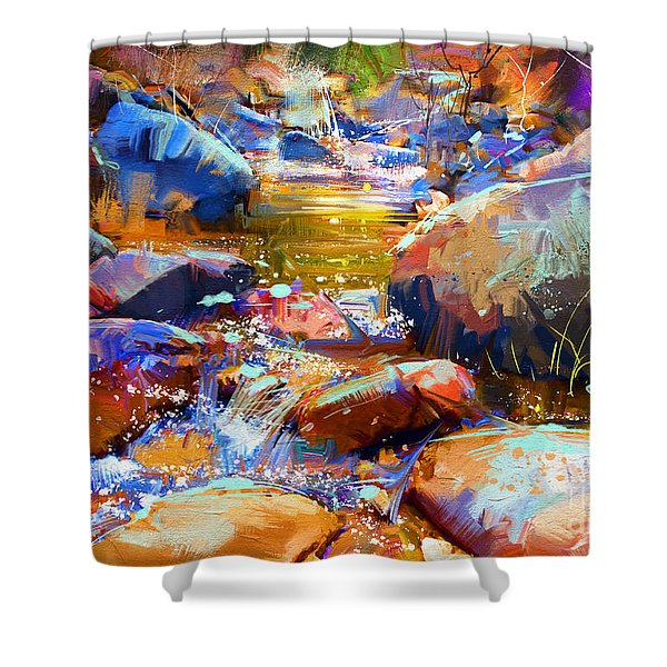Shower Curtain featuring the painting Colorful Stones by Tithi Luadthong