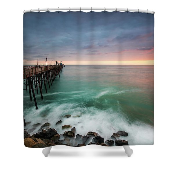 Colorful Sunset At The Oceanside Pier Shower Curtain