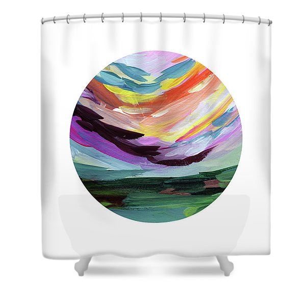 Colorful Uprising 5 Circle- Art By Linda Woods Shower Curtain