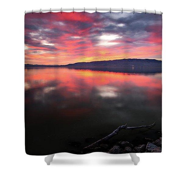 Colorful Utah Lake Sunset Shower Curtain