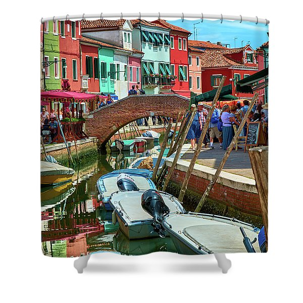 Colorful View In Burano Shower Curtain