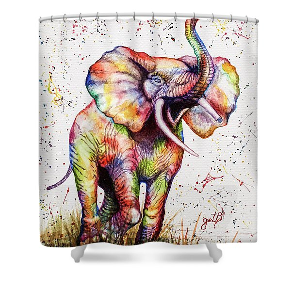 Colorful Watercolor Elephant Shower Curtain