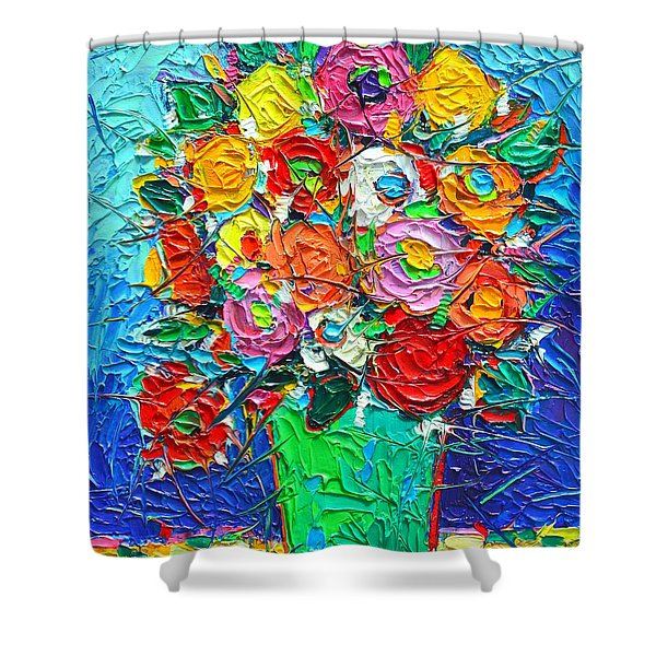Colorful Wildflowers Abstract Modern Impressionist Palette Knife Oil Painting By Ana Maria Edulescu  Shower Curtain