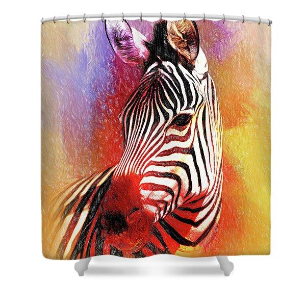Colorful Zebra Shower Curtain