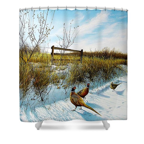 Colors Of Winter - Pheasants Shower Curtain