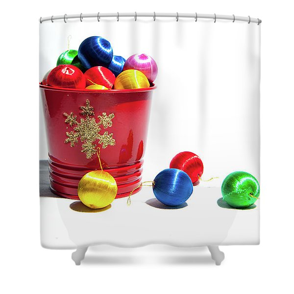 Coloured Baubles In A Pot Shower Curtain