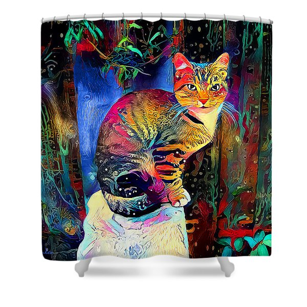 Colourful Calico Shower Curtain