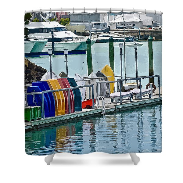 Colourful Dinghies Auckland Shower Curtain