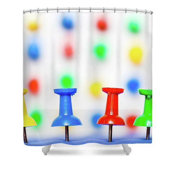 Colourful Pins. Shower Curtain