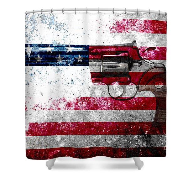 Colt Python 357 Mag On American Flag Shower Curtain