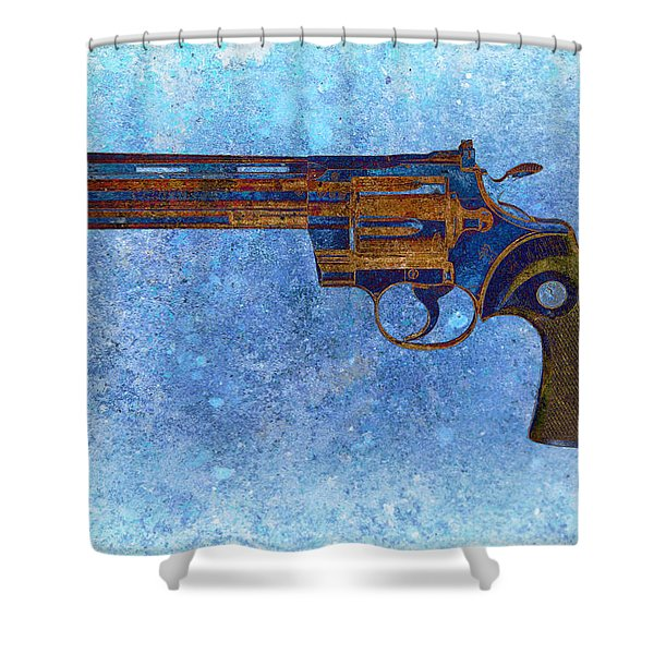 Colt Python 357 Mag On Blue Background. Shower Curtain