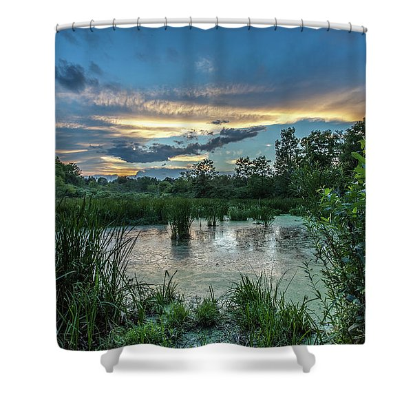 Columbia Marsh Sunset Shower Curtain