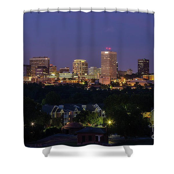 Columbia Skyline At Twilight Shower Curtain