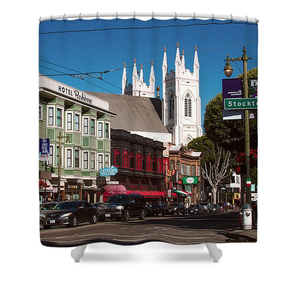Columbus And Stockton In North Beach Shower Curtain