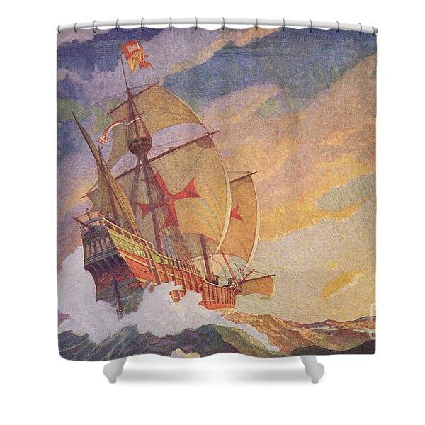 Columbus Crossing The Atlantic Shower Curtain