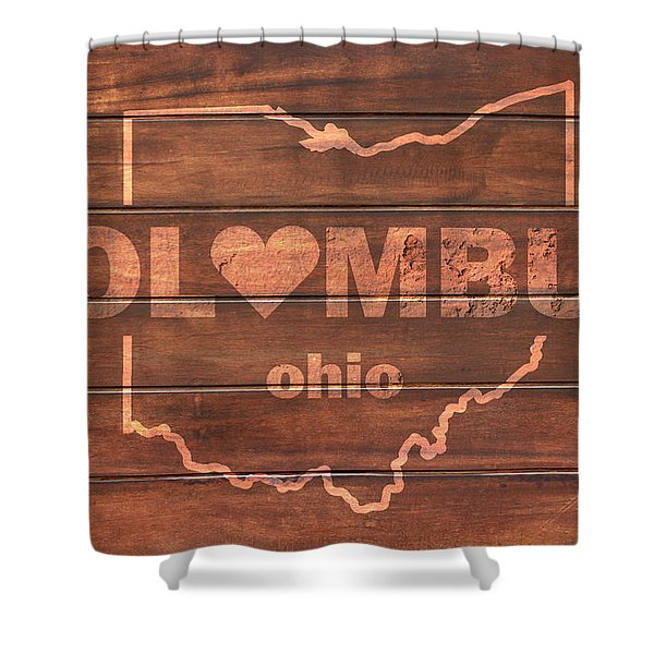 Columbus Heart Wording With Ohio State Outline Painted On Wood Planks Shower Curtain